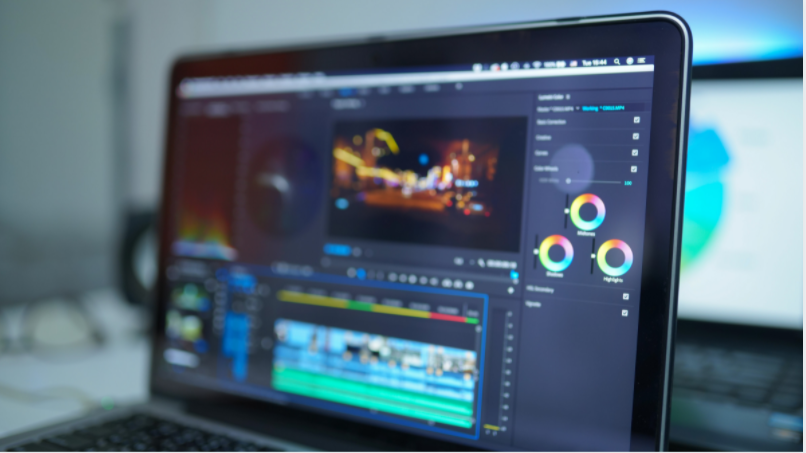 video editing on a laptop screen