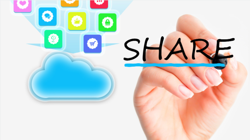 """a hand writing """"SHARE"""" with clouds in the background"""