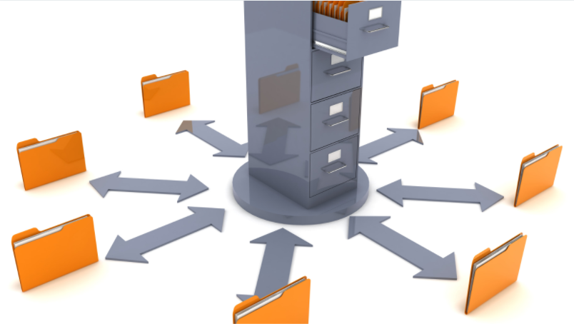 A Drawer that connects to 7 folder  which shows Data Storage and Management - Benefits of Shared Storage