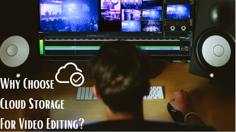 video editor sitting at computer while editing video