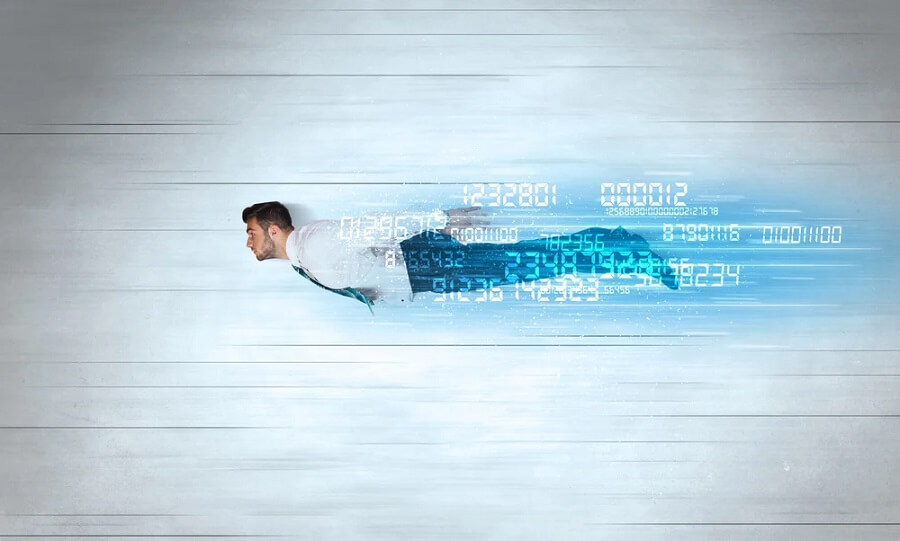 Businessman flying super fast with data numbers left behind concept v2
