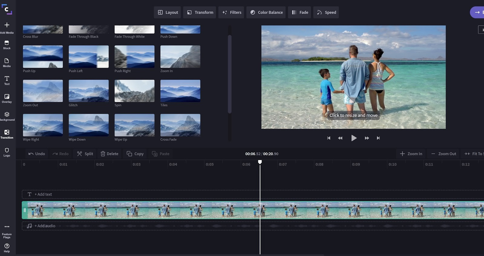 Clipchamp video editing software interface with timeline