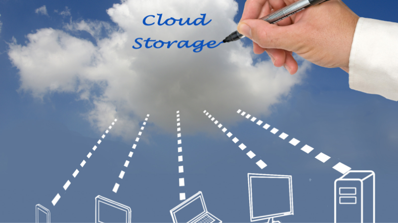 a clouds with text of cloud storage connected to the monitors and laptop