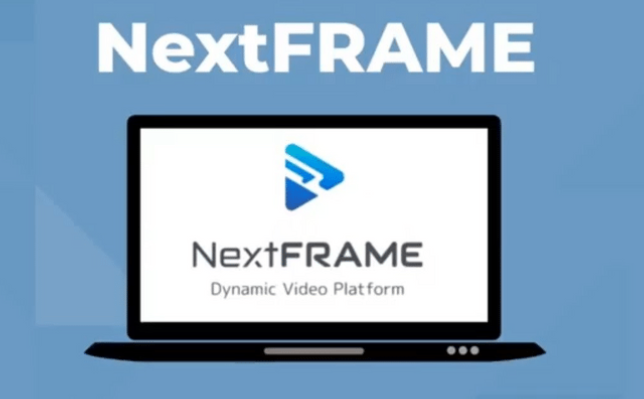 """a background of skyblue with an image of cartoon laptop and text of """"nextframe"""""""