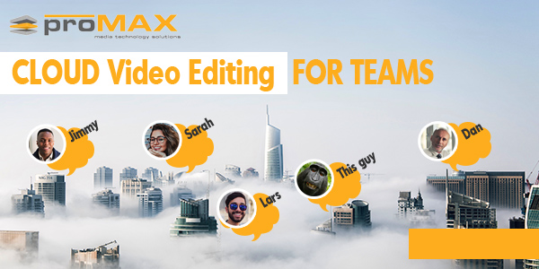 team editing video in the cloud over city