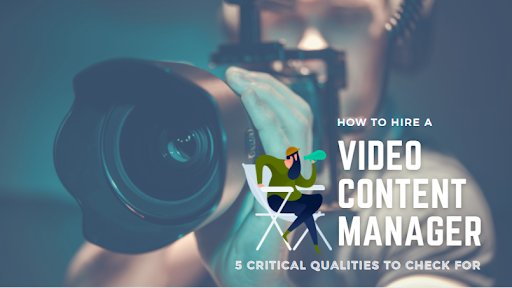 man with camera and text about tips for hiring a video content manager